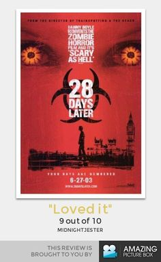 28 Days Later This is the zombie movie where the zombies go fast.no more sluggish zombies after this groundbreaking zombie flick! Horror Movie Posters, Best Horror Movies, Horror Films, Horror Dvd, Zombie Movies, Scary Movies, Great Movies, Awesome Movies, Christopher Eccleston