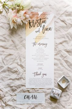 Oh Colorado You Look So Glamorous In This Glittering Garden Wedding! Unity Ceremony, Wedding Ceremony Programs, Wedding Menu, Wedding Stationary, Wedding Paper, Garden Wedding, Our Wedding, Wedding Planning, Wedding Invitations