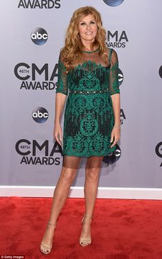 Nashville's Connie Britton shines in green lace at the CMA Awards #dailymail