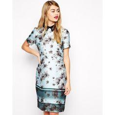 ASOS Border Floral Pencil Dress (£23) ❤ liked on Polyvore featuring dresses, multi, flower print dress, floral dress, asos dresses, pencil dress and pink floral print dress