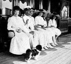 Maria Feodorovna, Tsar Nikolai II and Grand Duchesses Tatiana, Maria and Anastasia Nikolaevna aboard the Standard yacht