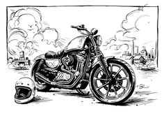 Harley Sportster illustration by Adi Gilbert / 99SECONDS.com for Tucker Rocky…
