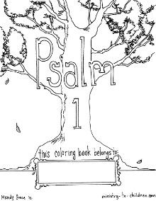 Free coloring book based on Psalm 1, memory work for Sonlight Core B,  weeks 1-6