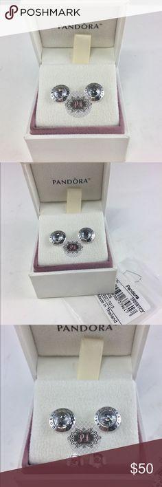 5f4f60526 New Radiant Pandora Logo Stud Earrings Authentic Radiant Pandora Logo Stud  Earrings 296216CZ Pandora Charms.