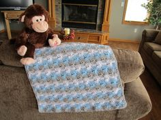 baby boy infant baby blanket crocheted by DonnasPinsandNeedles Baby Afghan Crochet, Baby Afghans, Blue Grey, Blue And White, Stroller Blanket, Quiches, Merino Wool Blanket, Infant, Baby Boy