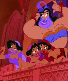Genie singing with the girls, Aladdin