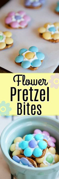 Flower Pretzel Bites - a sweet and salty treat that is the perfect way to welcome Spring into your home. AND an easy Easter dessert to make with your kids! #easter #easterdessert #eastertreat #eastercraft #spring #springdessert #summer #summerdessert #foodart #flowers #flowerpower #pretzels #sweetandsalty #easydessert