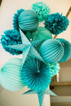 Fun teal birthday party decorations