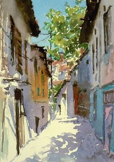 Daily Paintworks - Original Fine Art © Mineke Reinders - Wonderful sunlight captured in villa street path painting. Art Aquarelle, Art Watercolor, Watercolor Landscape, Landscape Art, Landscape Paintings, Landscapes, Watercolor Journal, Watercolour Paintings, Watercolor Architecture
