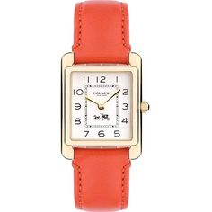 14502090 Page leather-banded watch ($230) ❤ liked on Polyvore featuring jewelry, watches, accessories, bracelets, white, white bracelet, white leather band watches, leather band watches, water resistant watches and rectangle watches