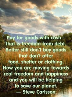Pay for goods with cash – that is freedom from debt. Better still don't buy goods that don't offer food, shelter or clothing. Now you are moving towards real freedom and happiness and you will be helping to save our planet. — Steve Carlsson, author of Being Human: A Question of Survival