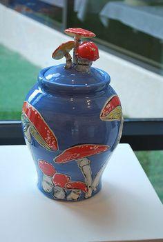 Lidded Mushroom Jar by MoiDuganPottery on Etsy