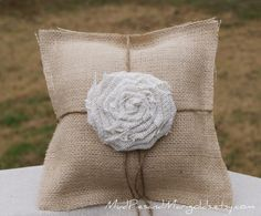 Burlap Ring Bearer's Pillow with Large Rosette, white, rustic, shabby chic, beach, garden, outdoor, farmhouse, country, woodland -$25.95