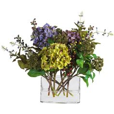 Nearly Natural 4670 Mixed Hydrangea in Mixed with Rectangle Vase Silk Flower Arrangement