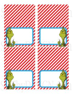 PRINTABLE Set of 4 Dr. Seuss The Grinch Food/Drink by shydesign, $4.00