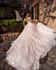 """Nora Naviano 2019 Wedding Dresses — """"Voyage"""" Bridal Collection nora naviano 2019 bridal long sleeves sweetheart neckline full embellishment princess romantic ball gown a line wedding dress sheer button back royal train bv -- Nora Naviano 2019 Wedding D Sheer Wedding Dress, Dream Wedding Dresses, Bridal Dresses, Wedding Gowns, Lace Wedding, Dress Lace, Weeding Dresses, Wedding Bells, Garden Wedding"""