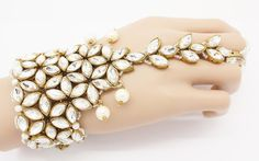 Handmade Gold Silver Pearl Hand Panja Hand Chain by Glimour