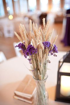 2018 pantone color of the year, pantone color of the year 2018, Wilmington Wedding by Theo Milo Photography, purple flowers and wheat centerpiece, pantone ultra violet, bright purple, dark purple, violet, purple and gold
