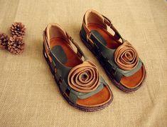Hueco sandalias zapatos de cuero zapatos con cuero planos de