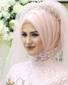 Bridal Hijab Styles, Hijab Wedding Dresses, Bridal Outfits, Kebaya Muslim, Muslim Hijab, Muslim Fashion, Hijab Fashion, Muslim Brides, Hijab Tutorial