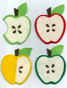 Items similar to Felt Apple Coasters on Etsy Fall Paper Crafts, Spring Crafts, Christmas Crafts, Felt Coasters, Felt Fabric, Felt Diy, Felt Hearts, Crafts For Kids, Diy And Crafts