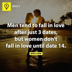 Men tend to fall in love after 3 dates women about 14 dates
