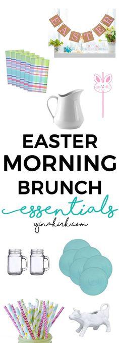 Easter brunch essentials | Easter morning brunch party | DIY Easter tablescape  | Easter breakfast decor ideas | GinaKirk.com @ginaekirk