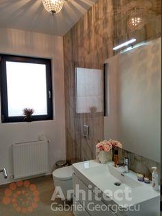 Proiect 39 | Casa parter | Otopeni | Proiecte de case personalizate | Arhitect Gabriel Georgescu & Echipa Design Case, Corner Bathtub, Mirror, House, Furniture, Home Decor, Decoration Home, Home, Room Decor