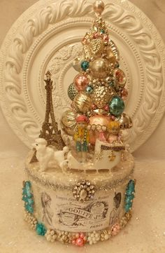 Vintage Eiffel Tower French Paris Christmas Ornament Bottle Brush Tree Box OUI ...msbinglesvintagechristmas