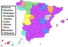 Los apellidos más comunes en cada provincia española.