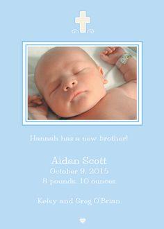 Blue Photo Birth Announcements