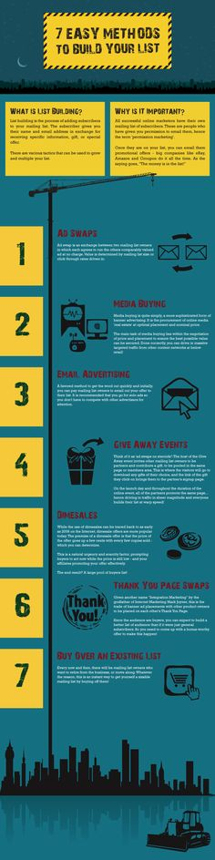 Here's an #infographic that lists 7 easy methods to build your list. http://goo.gl/lsXkWs