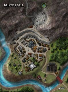 This mining town called Delver's Dale was one of a few Maps of Mystery created for the web-based incarnation of Dungeon Magazine after the print edition game to an end.