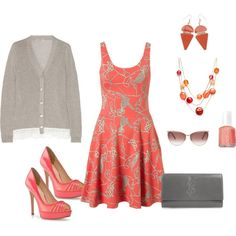 perfect for Easter day  coral-gray, created by bellaviephotography.polyvore.com