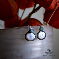 Moonbeams Jewelry by Adity Karande. Earrings Coin Pearl, Blue Sapphire, Silver, Gold.