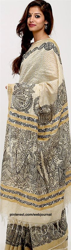 Handloom Chanderi Madhubani saree from theloom.in
