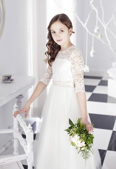 La Petite Lucy 'Elena' Illusion Neckline Lace Flower Girl & First Communion Dress Girls First Communion Dresses, Holy Communion Dresses, Tulle Flower Girl, White Flower Girl Dresses, White Baptism Dress, Lace Dress With Sleeves, Camila, Dresses For Teens, Dress First