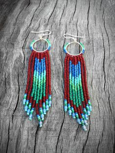 Native Inspired Long Beaded Hoop Fringe Earrings by KadhiBo