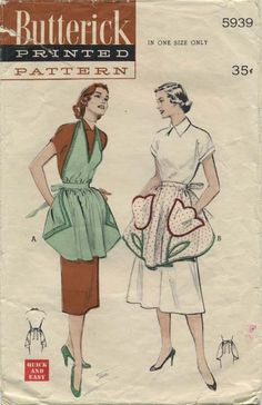 Vintage Apron Sewing Pattern | Butterick 5939 | Year 1951 | One Size