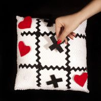 tic-tac-toe pillow...what a great idea to have an entertaining pillow for guests