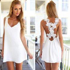 Vestido Corto Casual sin Mangas con Diseño de Encaje para Mujer-Blanco