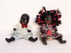 Vintage Black Americana African-Americans Little Boy Girl Bisque Dolls Figurines