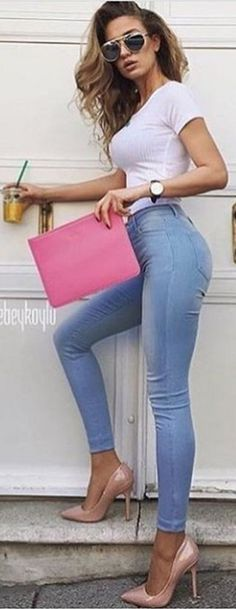 #spring #summer #highstreet #outfitideas | White + Light Blue + Pink