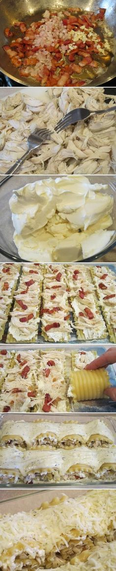 Chicken and bacon lasagna roll ups. Chicken and bacon mixed with ricotta cheese and rolled into lasagna noodles, topped with alfredo sauce and cheese, and then baked. I'm literally drooling. I Love Food, Good Food, Yummy Food, Bacon Lasagna, Chicken Lasagna, Bacon Pasta, Lasagna Rolls, Chicken Bacon, Great Recipes