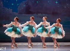 Brittany Reid, Laura Tisserand, Chelsea Adomaitis and Kylee Kitchens as Aurora's friends in Act 1 of Pacific Northwest Ballet's Sleeping Beauty. Photo by Angela Sterling