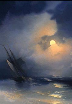 Artist: Ivan Aivazovsky  Russian, Armenian Artist (Romanticism)  Born: 29 July 1817; Feodosiya, Crimea, Ukraine  Died: 05 May 1900; Feodosiya, Crimea, Ukraine  Title: Storm at Sea on a Moonlit Night  (Буря на море лунной ночью) Style: Romanticism  Genre: marina , from Iryna