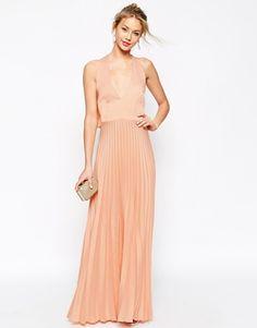 Enlarge ASOS Pleat Deep Plunge Maxi Dress @misssarah077