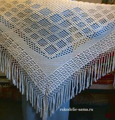 филейное вязание шаль с кистями