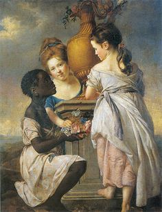 black servant painting - A Conversation of Girls (Two Girls with their Black Servant), 1770 | Wright