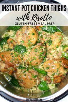 This Instant Pot Chicken Thigh Recipe with risotto is a ridiculously delicious one-pot meal ready in 30 minutes! #InstantPot #EasyRisotto #ChickenThighs #30MinuteMeal #PressureCookerRecipes #GlutenFree #TasteAndSee